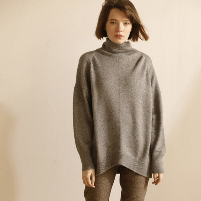 נקבת סוודר סגנון העצלן רופף צווארון גבוה נשים סוודר קשמיר סתיו חורף סעיף עבה לסרוג למעלה חולצה