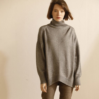 Cashmere sweater women high collar loose lazy style sweater female fall winter paragraph thick knit top shirt