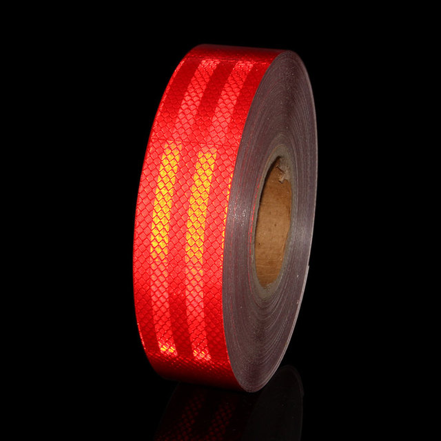 2x 40 1M White Red Micro Prisms Reflective Tape Sticker Roll Stripe For Car Tail Body Contour Trailer Waterproof