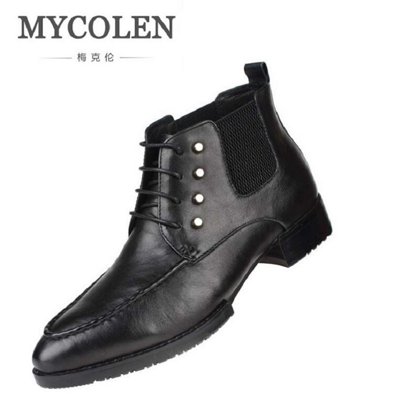 MYCOLEN Fashion Male Botas Ankle Motorcycle Boots Comfortable High Top Men Shoes Winter Genuine Leather Men Boots Botas Militar mycolen new autumn winter men black casual shoes men high tops fashion hip hop shoes zapatos de hombre leisure male botas