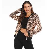 Rosa leopardo primavera mujeres chaquetas más tamaño corto Mujer abrigo cremallera Chaqueta manga larga Polka Dot mujer Chaqueta Bomber