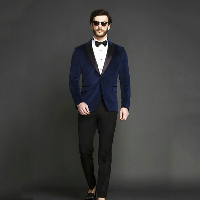 Custom Made Royal Blue Smoking Jacket Prom Party Men Suits For Wedding Man Blazer Groom Tuxedos 2Piece Coat+Pants Costume Homme