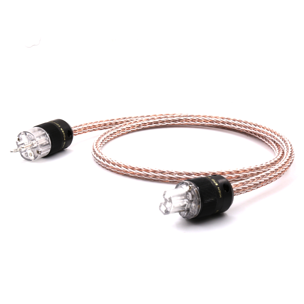 High Quality 6N OCC Hifi 12TC Audiophile European AC Power Cord power cable Hi-End Schuko EUR Silver plated Power Plug hi end schuko power cable eu power cord with eu plug mains power cable hifi audiophile european ac power cable