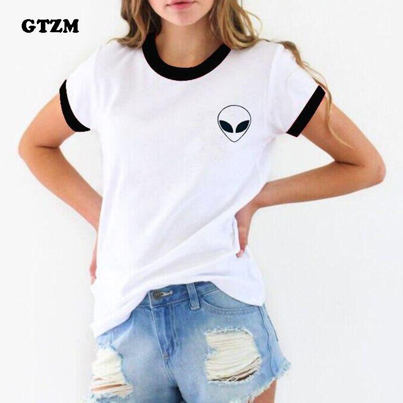 GTZM 2018 Neue Alien T-shirts Plus Größe Frauen Sommer Lustige T-shirts Cartoon T-shirt Tops Kleidung für Frau Lady Mädchen
