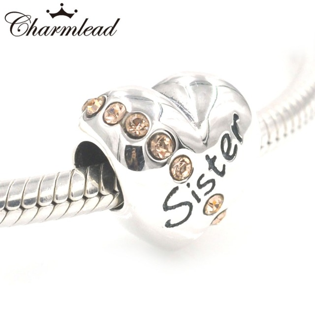 Charmlead Fits Pandora Charms Bracelet 925 Sterling Silver Sister Beads My With Pink Cz Stone