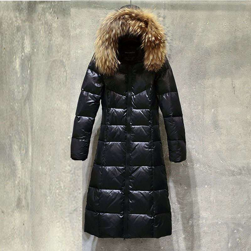 Plus size Winter Duck down Coat Women Glossy Parka Hooded Natural Fur Collar Fur Coats High