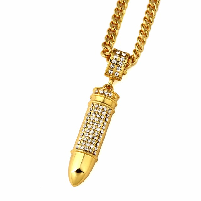 Fashion Iced Out Gold Bullet Pendant Necklace Star Jewelry Men Hip Hop  Dance Charm Franco Chain Hiphop Christmas Gift