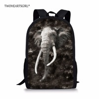 TWOHEARTSGIRL Coo Printing 3D Elephant Backpack For Teen Girls Grey High Middle School Children Kids Bagpack