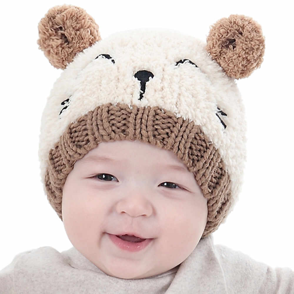 2018 New Baby Cap For Girls Cap Cute Baby Kids Girl Boy Dual Balls Warm Winter Knitted Cap Hat Beanie pompom newborn photography