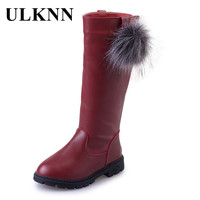 ULKNN Girls Children S Winter Long Boots For Girls Snow Boots Princess PU Leather Shoes Rubber