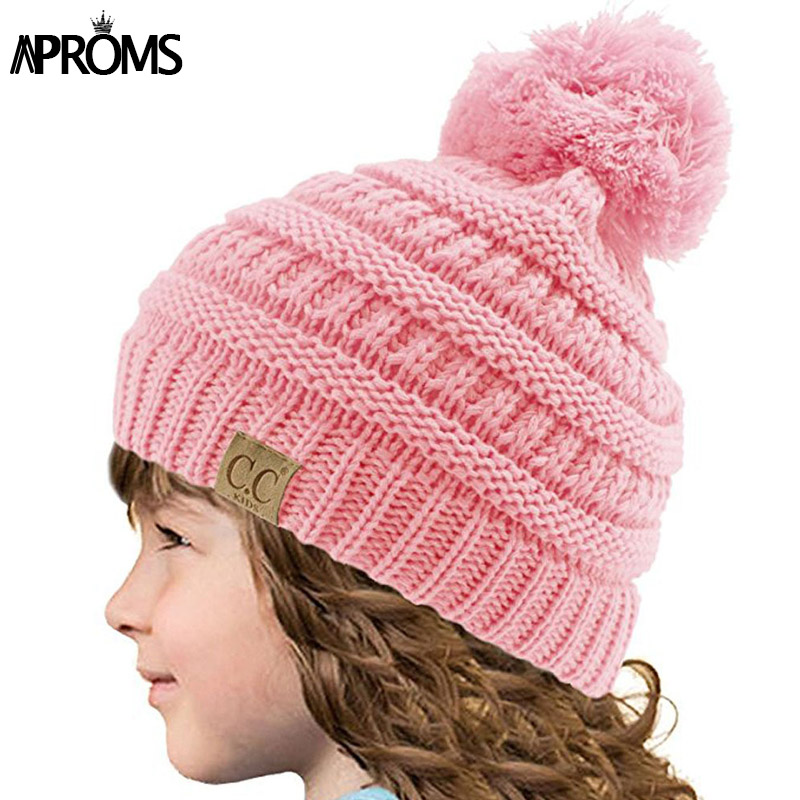 Aproms Candy Colors CC Child Winter Autumn Knitted Hat Beanies Pink Skullies Beanies Kids Girls Warm Pom Pom Caps for Children hot skullies beanies winter hat pom pom caps for women girl vintage solid hemming warm spring autumn hat female wsep21