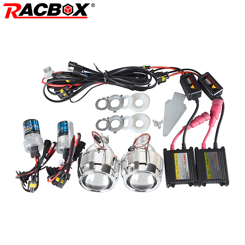 RACBOX 35W 2.5 Inch LHD RHD Bixenon HID Projector Lens With Shrouds H1 H4 H7 Motorcycle Auto Car Headlight Kit 4300K 6000K 8000K auto motorcycle 35w 2 inch hid bixenon projector lens headlight kit 6000k 4300k blue green red yellow white ccfl angel eye