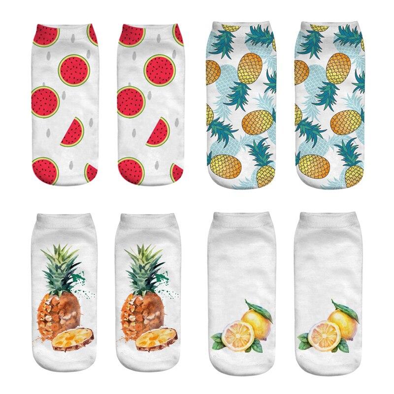 Banana Cartoon fruit Art funny socks 3d Printed womens socks Low Cut ankle short spaort socks Calcetines Mujer Casual Hosiery