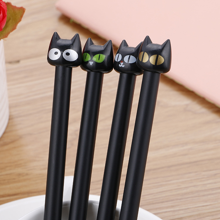 100 Pcs High Quality Black Kitten Neutral Pen Creative Cartoon Student Stationery Water-based Signature Pen Strong Resistance To Heat And Hard Wearing