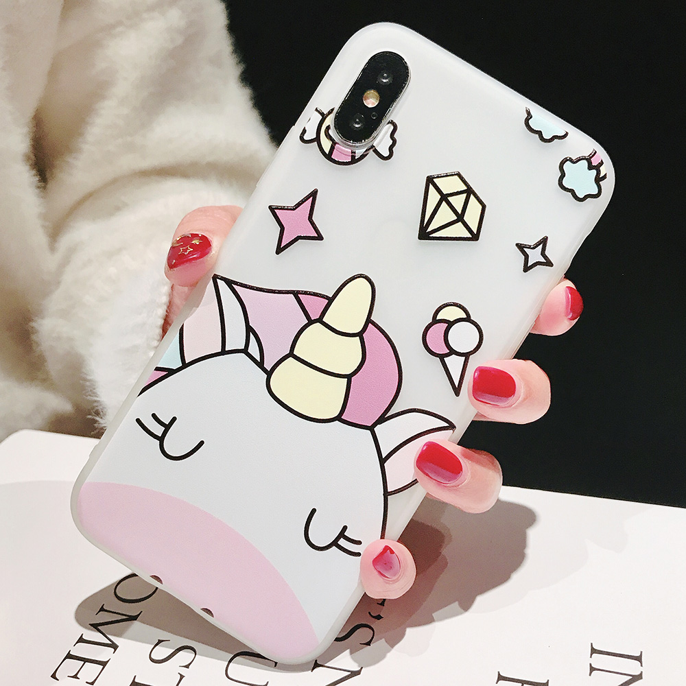 KIPX1104_2_JONSNOW Phone Case For iPhone XS Max XR XS 6 6S 7 8 Plus Funny Cute Emboss Unicorn Pattern Soft Silicone Cover Cases Capa Fundas