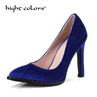 Elegant Women Pumps High Heels Pointed Toe Sexy Spring Women Shoes Blue Green Gold Velvet Shoes
