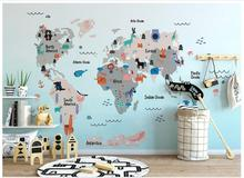High Quality Custom 3d wallpaper murals Hand painted cartoon wallpaper world animal map children room mural background wall free shipping cartoon wallpaper children room bedroom retro wood frame background wallpaper hand painted animal mural