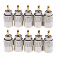 10 Pcs UHF PL-259 Male Solder RF Connector Plugs For RG8X Coaxial Coax Cable все цены