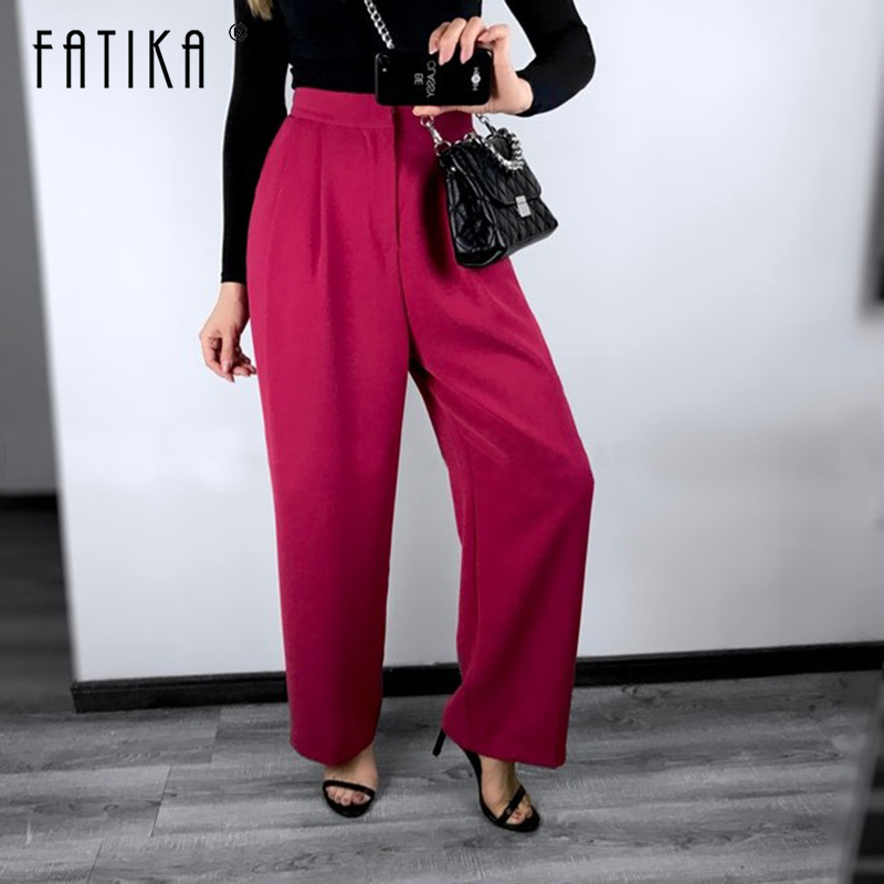 FATIKA 2019 Winter Hot Women Thick Pants Loose Solid Wide Leg Pants Trendy Ladies Loose Trousers Women's Clothing-in Pants & Capris from Women's Clothing
