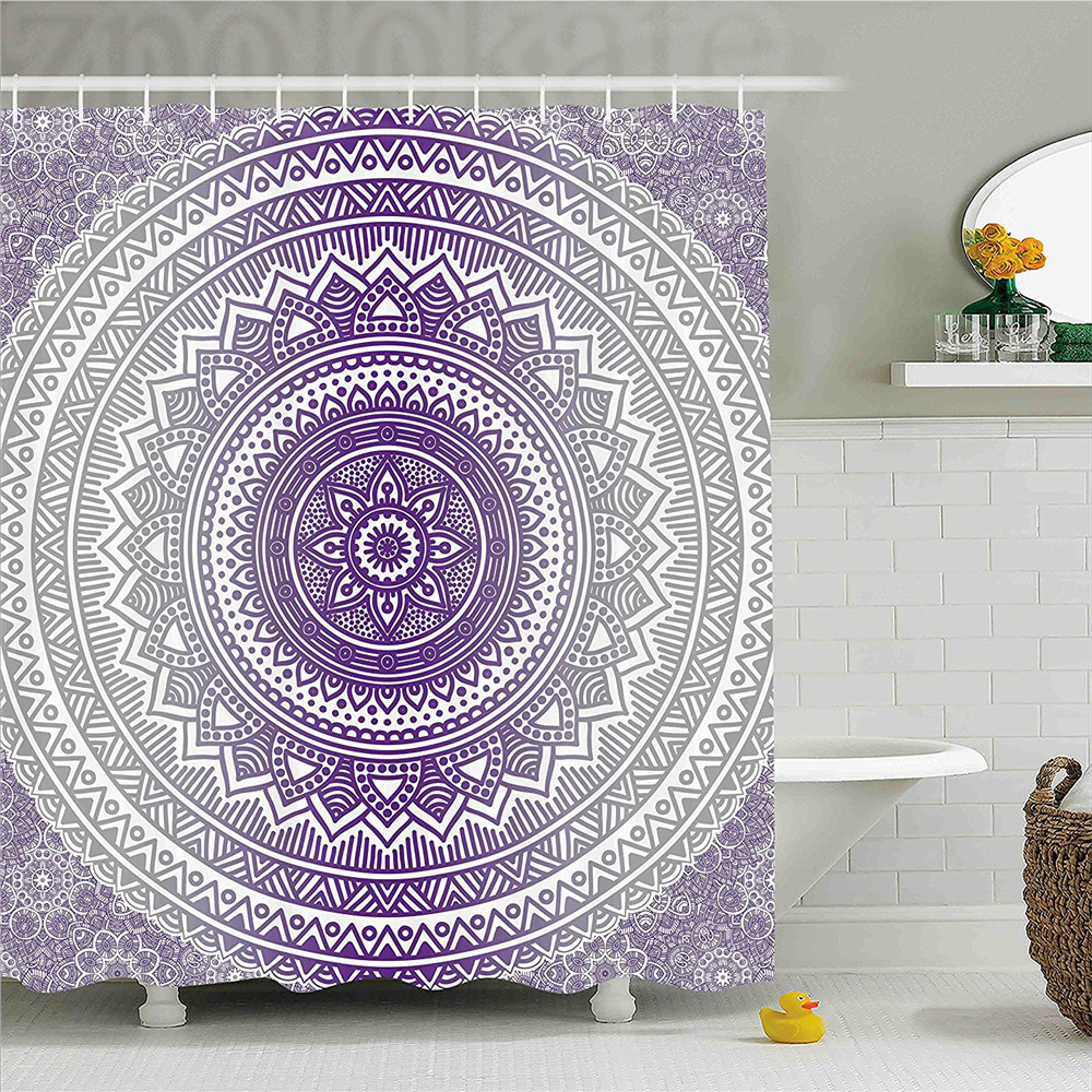 Grey and Purple Shower Curtain Eastern Traditional of Cosmos Pattern Zen Boho Ombre Mand ...