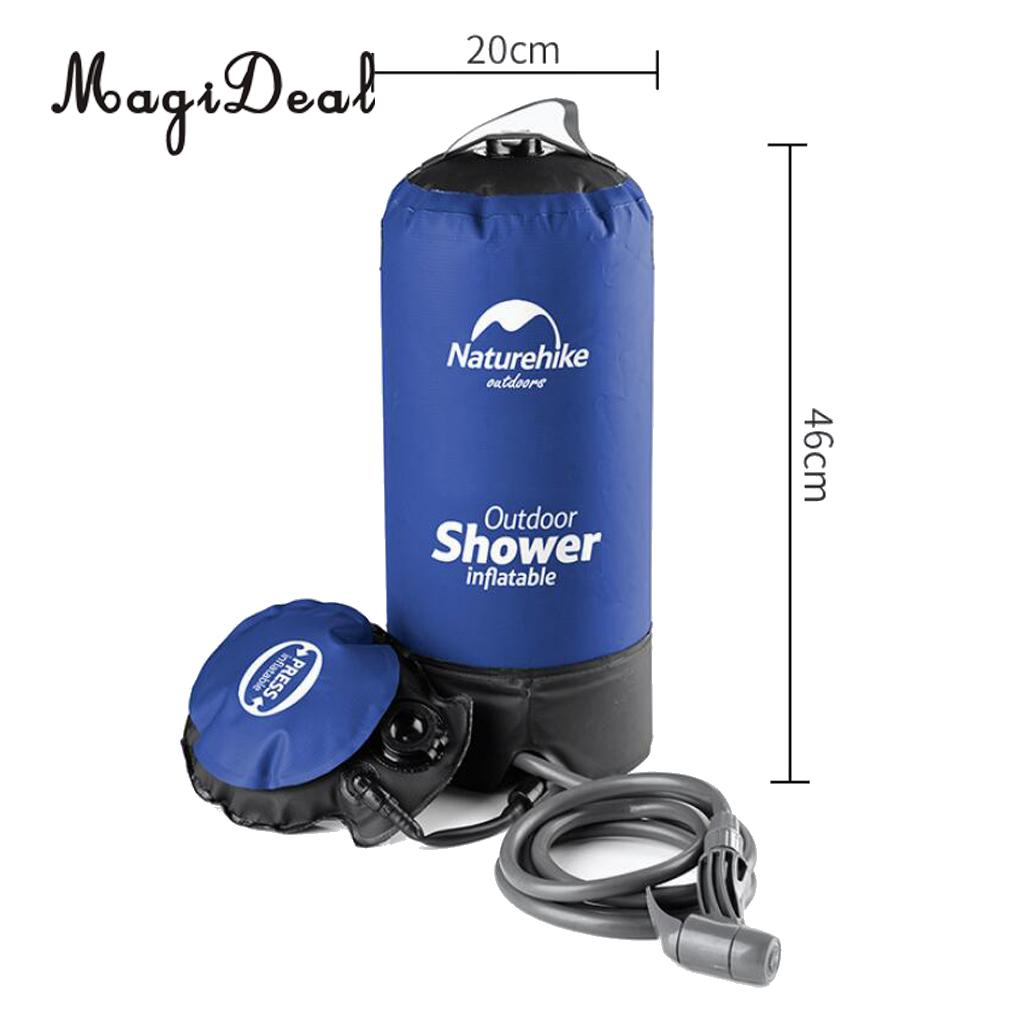 3 Gallons Foldable Shower Bag Warm Cold Water with Pumping for Camping Surfing Pets Sports