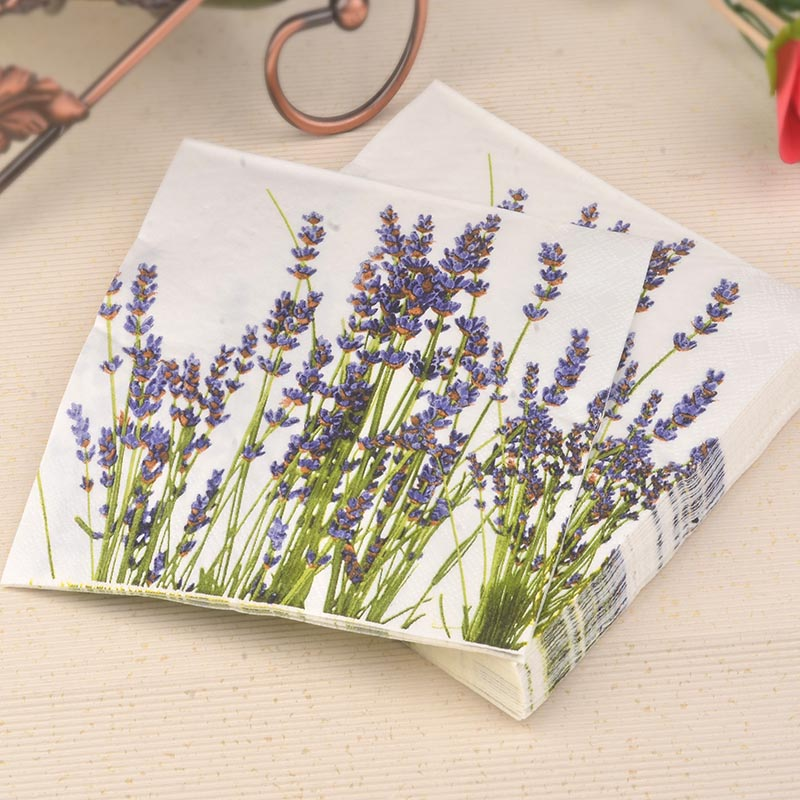 33*33cm 20PCS/Pack Fresh Lavender Pattern Paper Napkin 100% Virgin Wood Paper Napkin for Hotel Cafe decoration