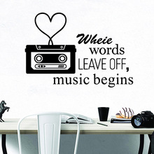 words music begins Home Decorations Pvc Decal For Decor Kids Room Decoration