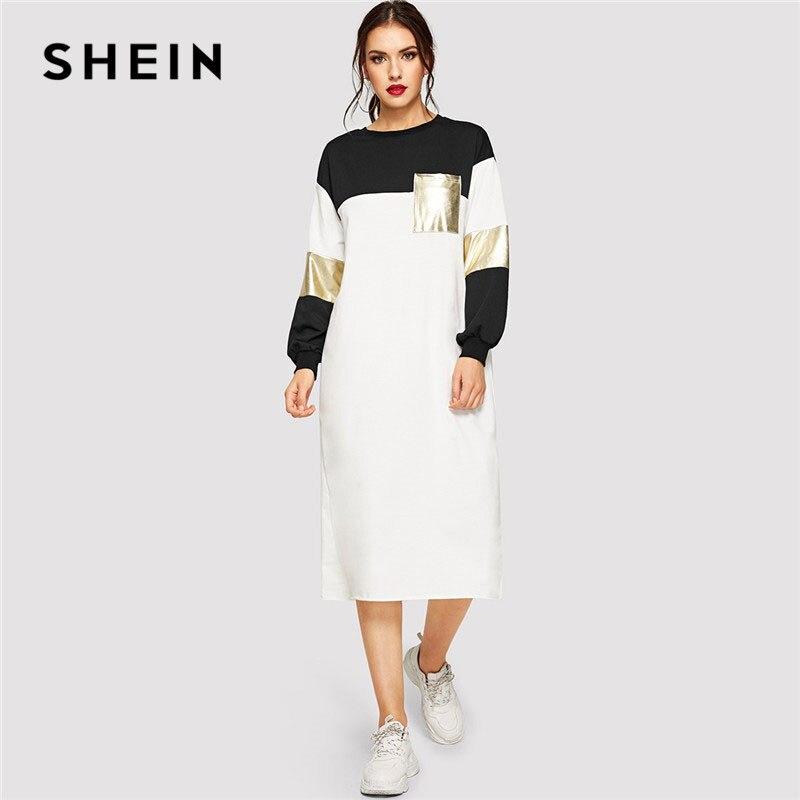 Шеин карман Patched металлик панель Colorblock женское платье Весна уличная повседневное с длинным рукавом Regular Fit Midi платья для женщин