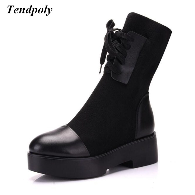 New black leather casual boots autumn and winter large-size base at the end of elastic wool female boots Hot wild Women's shoes the ocean at the end of the lane