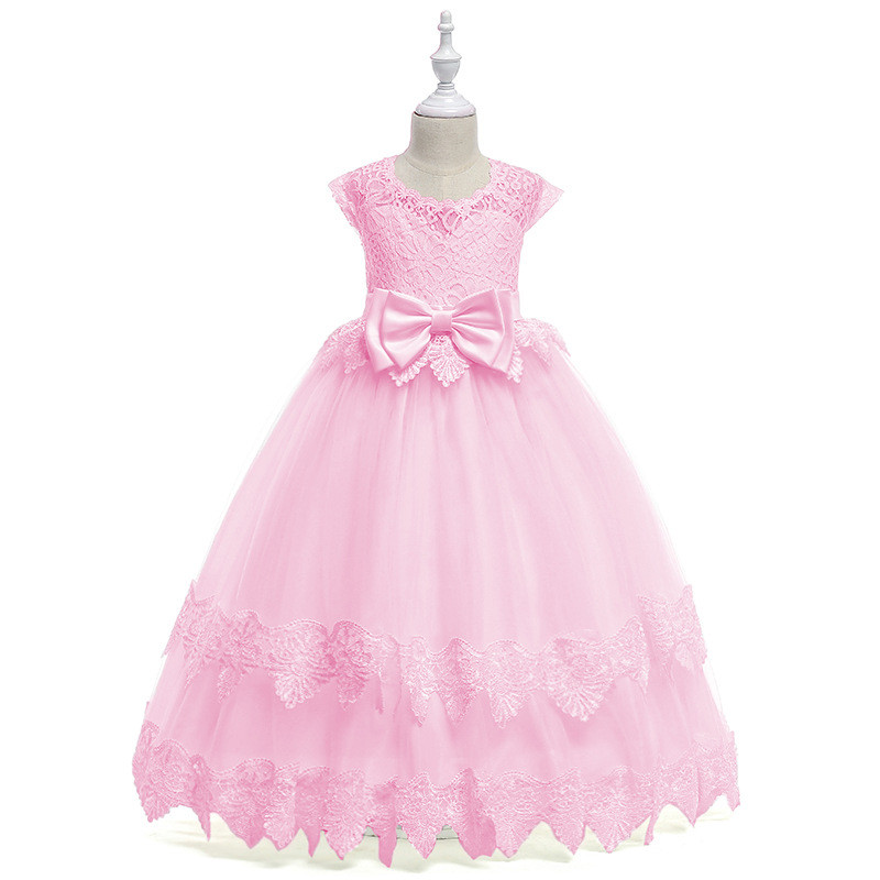 Fancy Kids Flower Ruched Tulle Dress for Girls Bow Ball Gown Baby Flower Girl Princess Dresses Wedding Party Costumes 12 Years