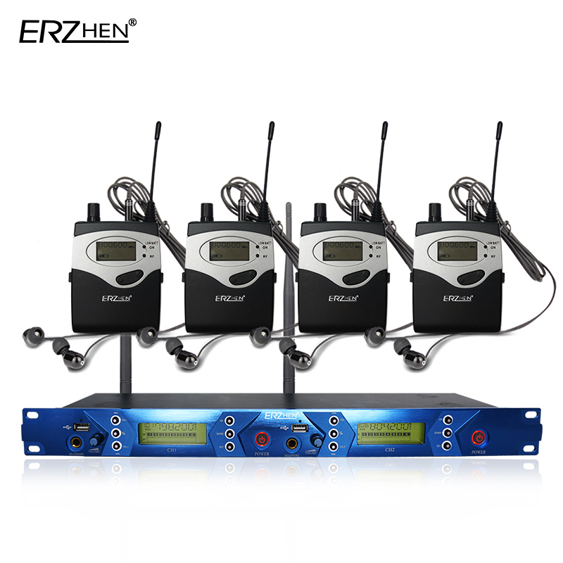 ear monitor wireless system with 4 receiver EM5012 In Stage monitor Ear Monitor System 2 Channel