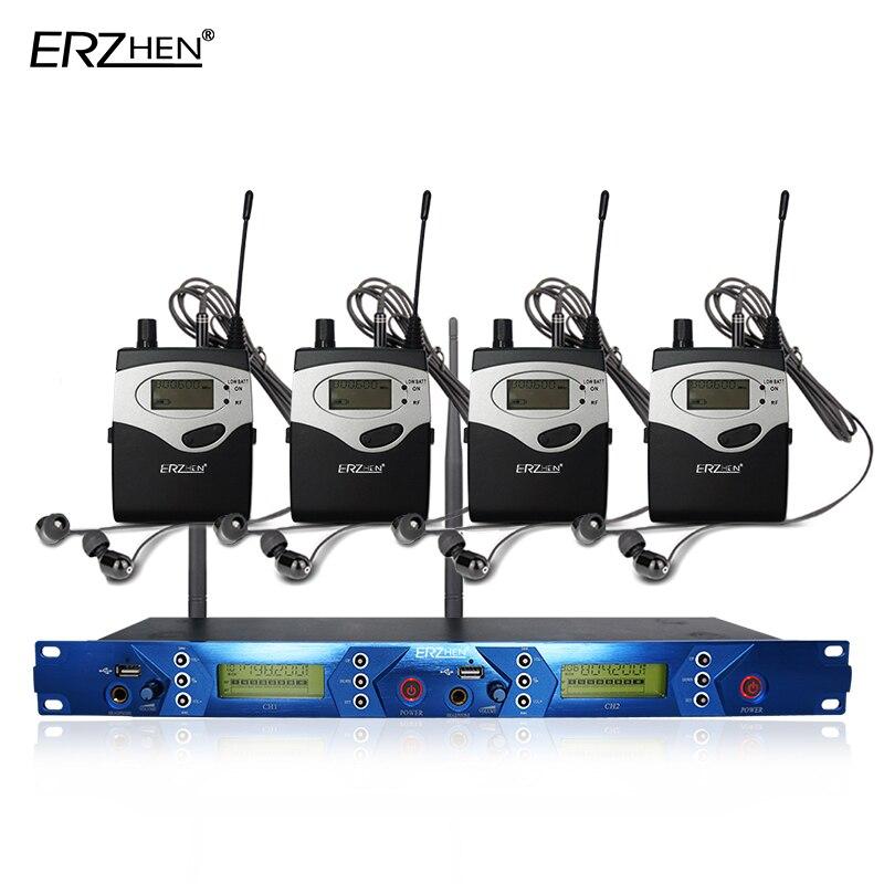 Ear monitor di sistema con 4 ricevitore wireless EM5012 In Ear Monitor di Sistema monitor da Palco 2 Canali sistema di Monitoraggio in ear