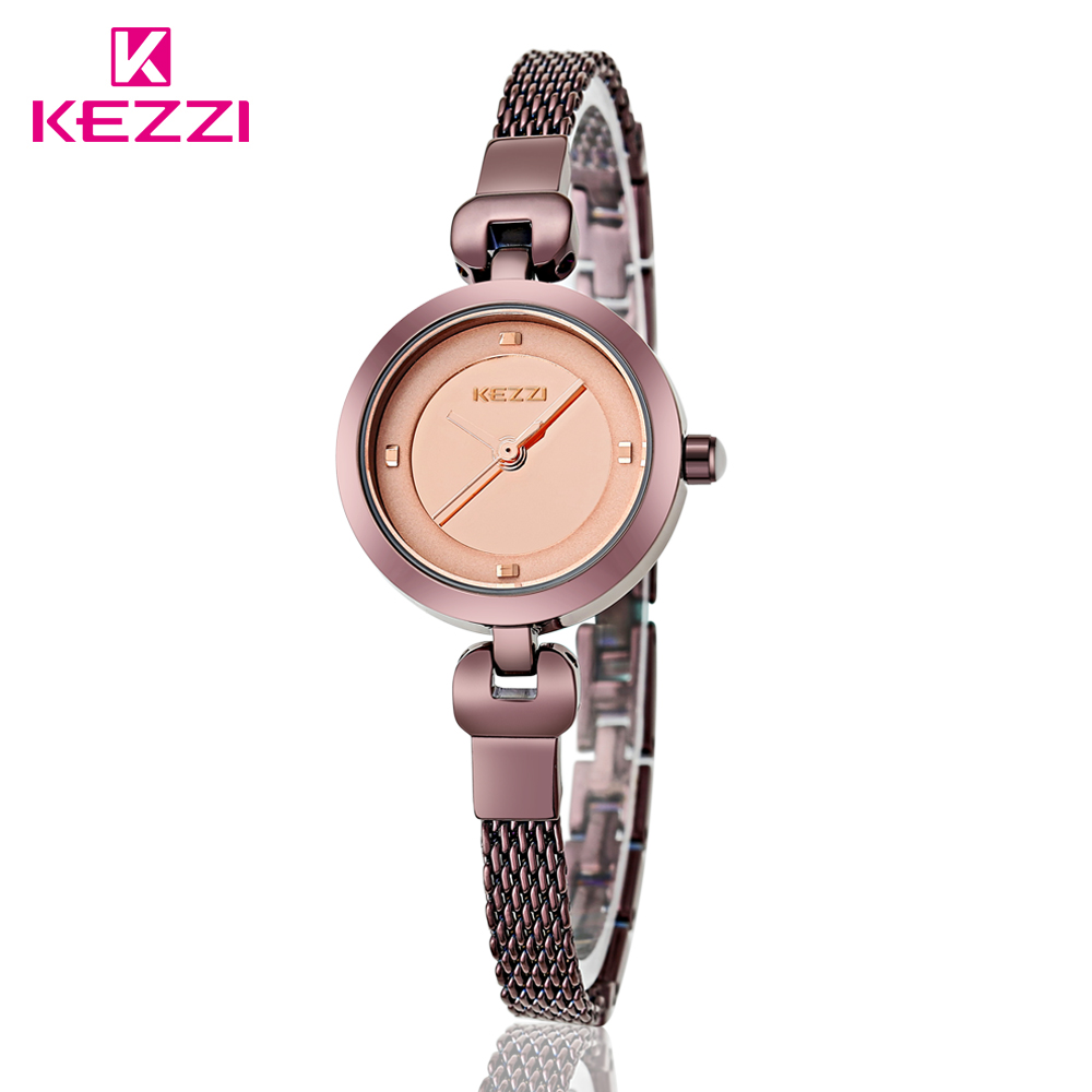 100% KEZZI Brand Tungsten Steel Watches For Woman Fashion Mesh Belt Quartz Wrist Watch Casual Simple Case Exquisite Female Watch