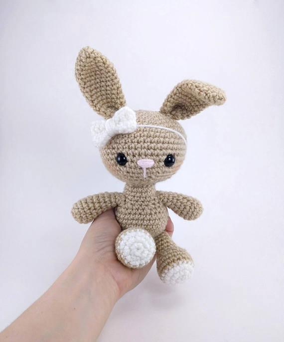 Amigurumi Haak bunny konijn speelgoed rammelaar Haak baby Speelgoed gift 1