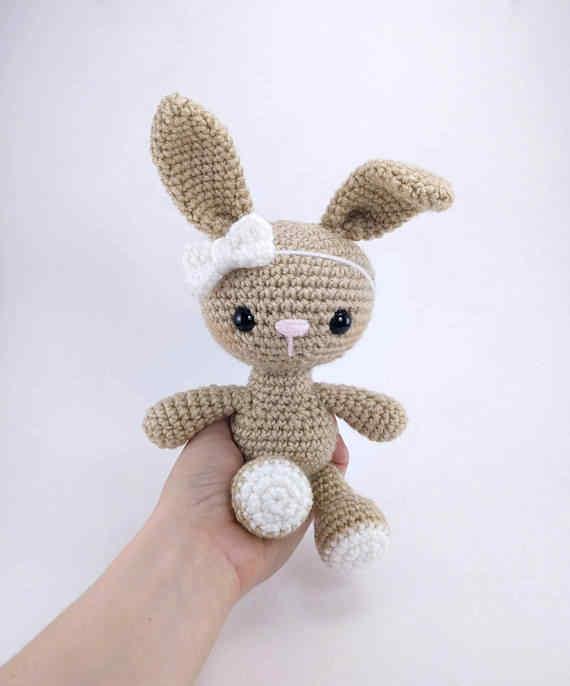 Амигуруми крючком Кролик Игрушка-погремушка младенца вязания крючком игрушка в подарок