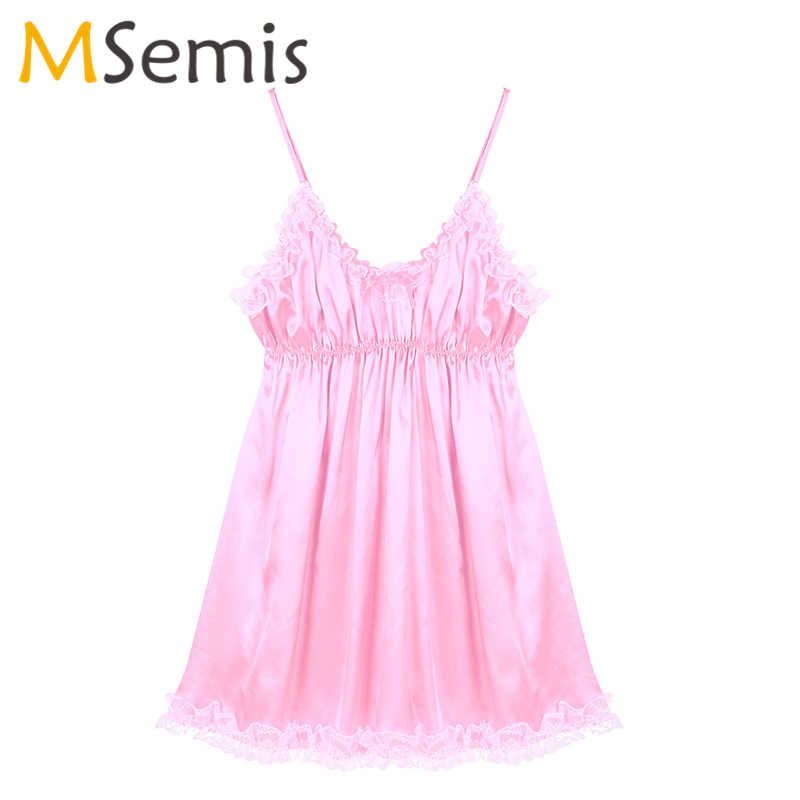 Nam Ẻo Lả Đầm Lót Frilly Xù Ren Viền Mềm Mịn Satin Đầm Có Thể Điều Chỉnh Spaghetti Dây Vai Đồng Tính Váy Ngủ