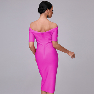 Image 3 - 2020 נשים של קיץ סלאש אמצע מותניים עגל אופנה סגול Off כתף קצר שרוול סלבריטאים תחבושת מסיבת חג המולד שמלה