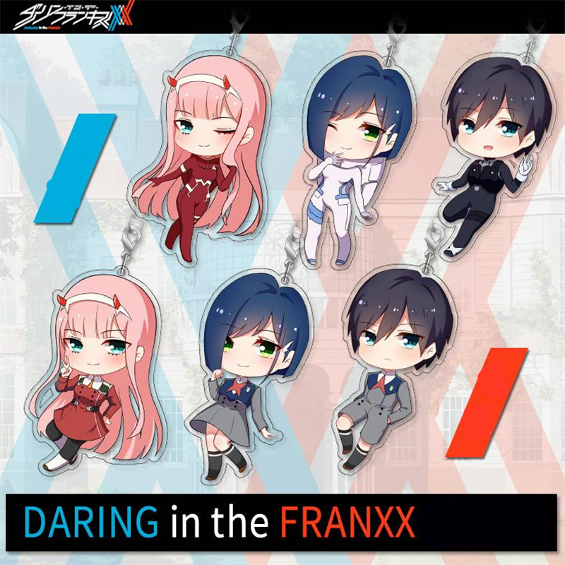New Anime DARLING in the FRANXX DITF Zero Two 02 Cosplay Props Acrylic Cute Keychain Phone Pendant Key Chains Gifts Accessories