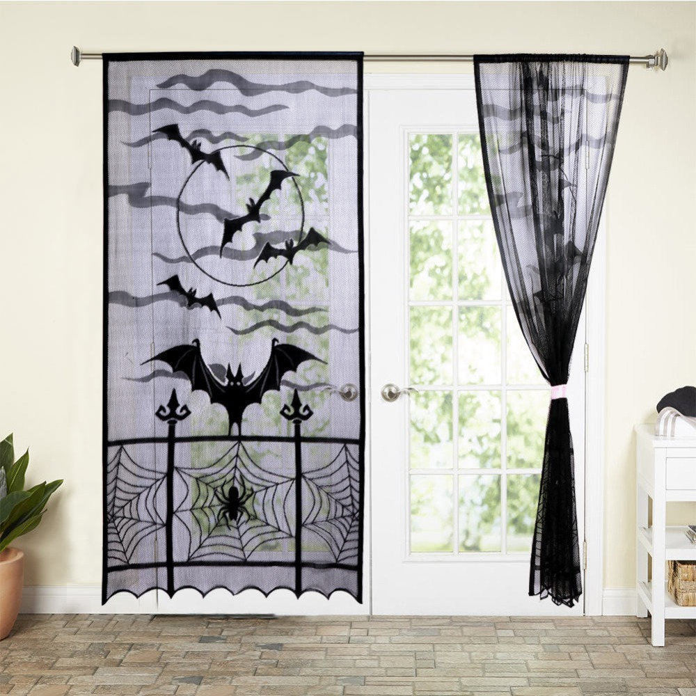 Black Lace Halloween Curtain Tulle Sheer Bat Spide