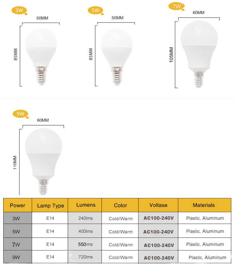 Bombilla LED E14 LED ampoule 220V 110V 3W 5W 7W 9W 12W 15W 18W B22 SMD2835 lumière LED ampoule pour salon réel puissance lampe à LED