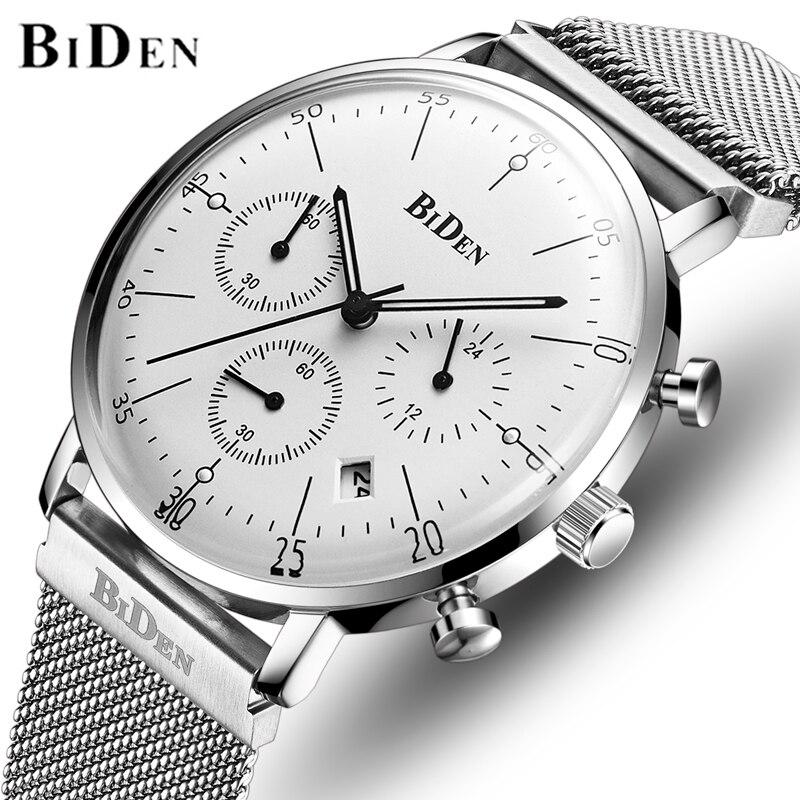 BIDEN Mens Watches Top Brand Luxury Men Fashion Sport Watch Man   Stainless Steel Chronograph Wrist Watch Relogio Masculino