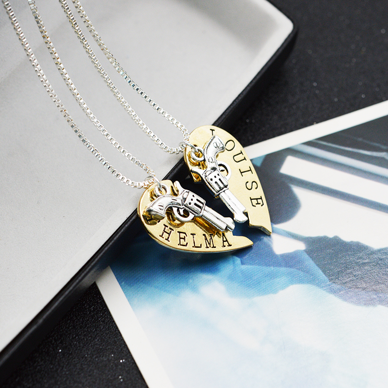 b8a481d2 2pcs THELMA LOUISE Pendant Necklaces Guns Heart Friendship Adventure  Freedom Best Friends Forever Creative Girl Keepsake Gift-in Pendant  Necklaces from ...