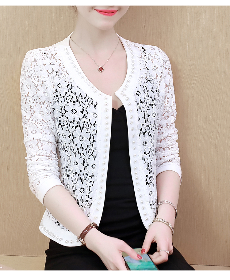 HTB1i 1ZSYvpK1RjSZPiq6zmwXXaK - Women Jacket Long Sleeve black hollow lace jacket women fashion women's jackets women coats and jackets women clothing B239