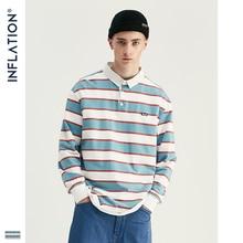 INFLATION 2020 Männer Gestreiften Langarm T shirt Männer Street Wear T shirt Oansatz Beiläufige Lose Stil T shirt Herbst Top Tees 91502W