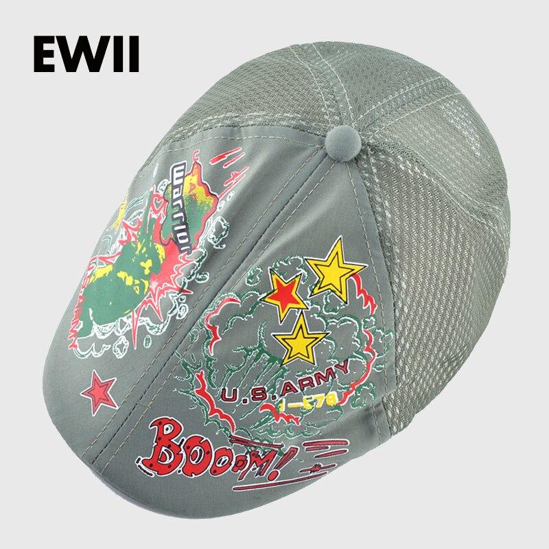 2017 New baby flat patchwork caps for kids character hats girls summer  beret cap boy breathable mesh hat children bones 36b8b7369d23
