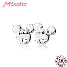 MISSITA 100% 925 Sterling Silver Bowknot Cute Mickey Earrings For Women Jewelry Brand Girlfriend Party Gift Hot Sale
