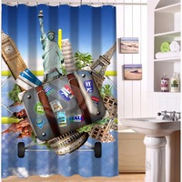 Fashion Custom Travel And Tourism Waterproof Polyester Fabric Shower Curtain 48 X 72