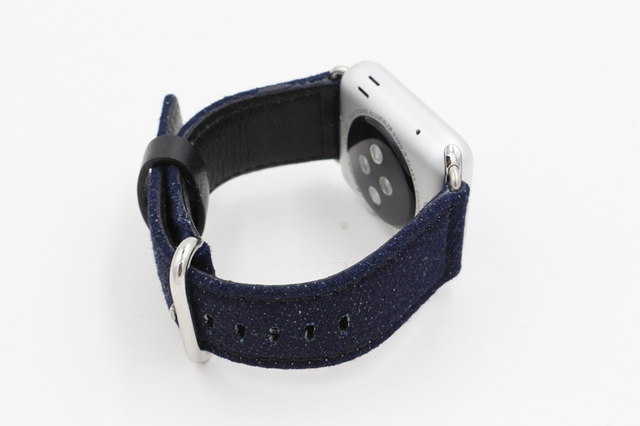 URVOI band for apple watch series 4 5 3 2 1 strap belt for iwatch canvas with classic buckle dark denim blue jean 38 42mm