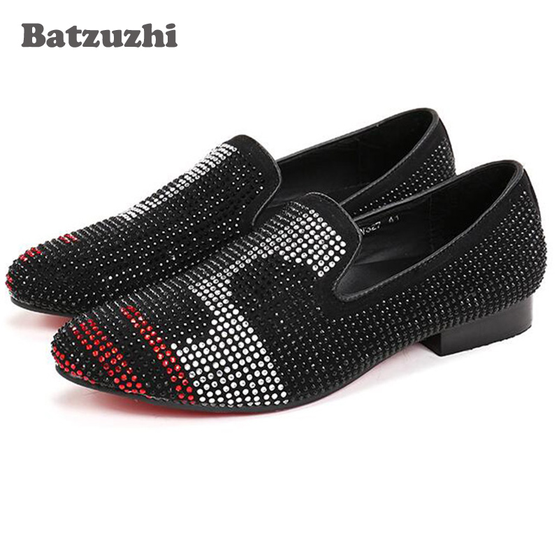 Luxury Handmade Men Loafers Fashion Black Leather Dress Shoes Black/Red Crystal Rhinestone Men Party and Wedding Men