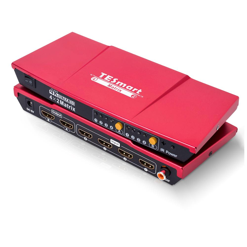 TESmart 2 4x2 Matriz HDMI 1080 P de Alta Qualidade K 4 K 3D Chave Seletora Switcher Splitter com estéreo analógico (SPDIF)